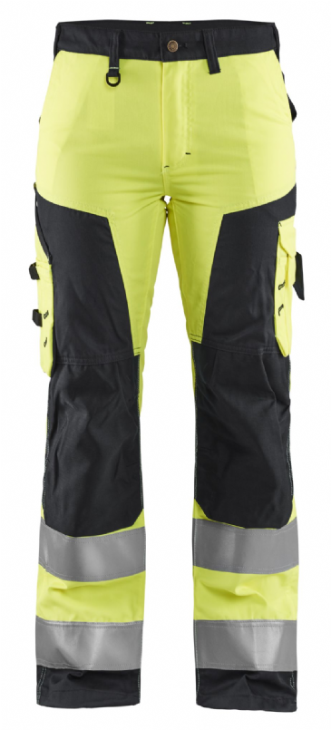 Blaklader 7155 Ladies High Vis Work Trousers without Nail Pockets (Yellow / Black)